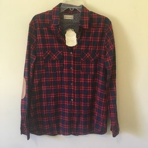 {Altar'd State} NWT Red + Navy Flannel Shirt